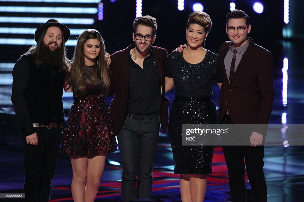 THE VOICE -- 'Live Show' Episode 517B -- Pictured: (l-r) Cole Vosbury, Jacquie Lee, Will Champlin, Tessanne Chin, James Wolpert --