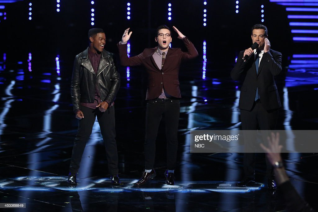 THE VOICE -- 'Live Show' Episode 517B -- Pictured: (l-r) Matthew Schuler, James Wolpert, Carson Daly --