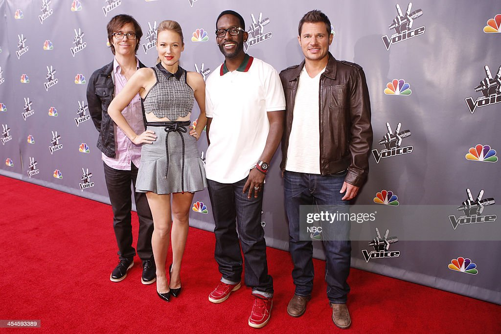 THE VOICE -- 'Live Show' Episode 518A -- Pictured: (l-r) Ben Folds, Jewel, Shawn Stockman, Nick Lachey --