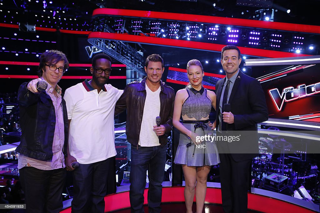 THE VOICE -- 'Live Show' Episode 518A -- Pictured: (l-r) Ben Folds, Shawn Stockman, Nick Lachey, Jewel, Carson Daly --
