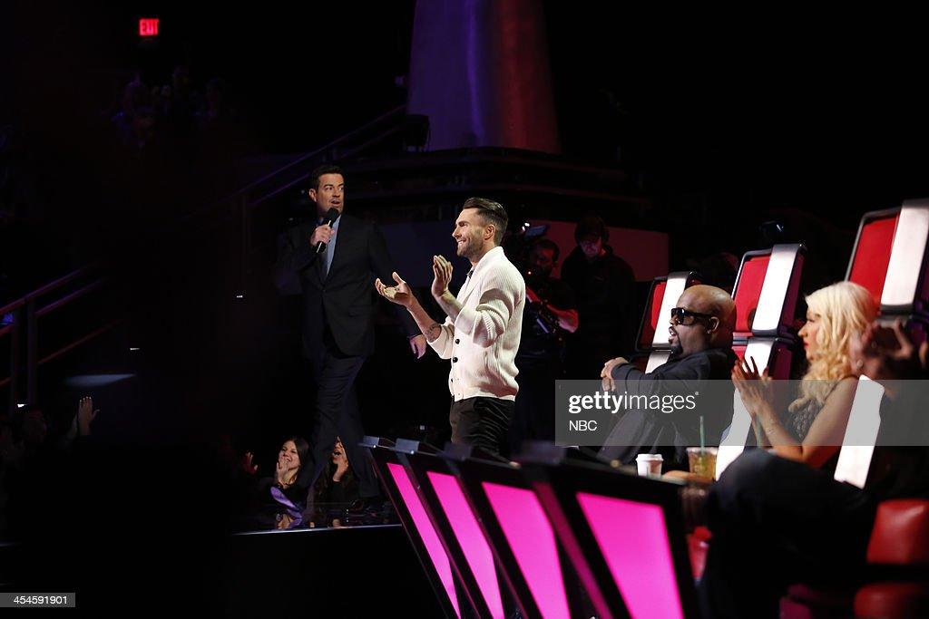 THE VOICE -- 'Live Show' Episode 518A -- Pictured: (l-r) Carson Daly, Adam Levine, CeeLo Green, Christina Aguilera --