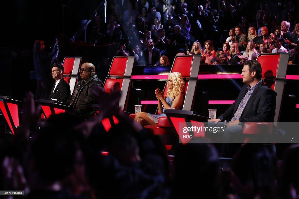 THE VOICE -- 'Live Show' Episode 519A -- Pictured: (l-r) Adam Levine, CeeLo Green, Christina Aguilera, Blake Shelton --