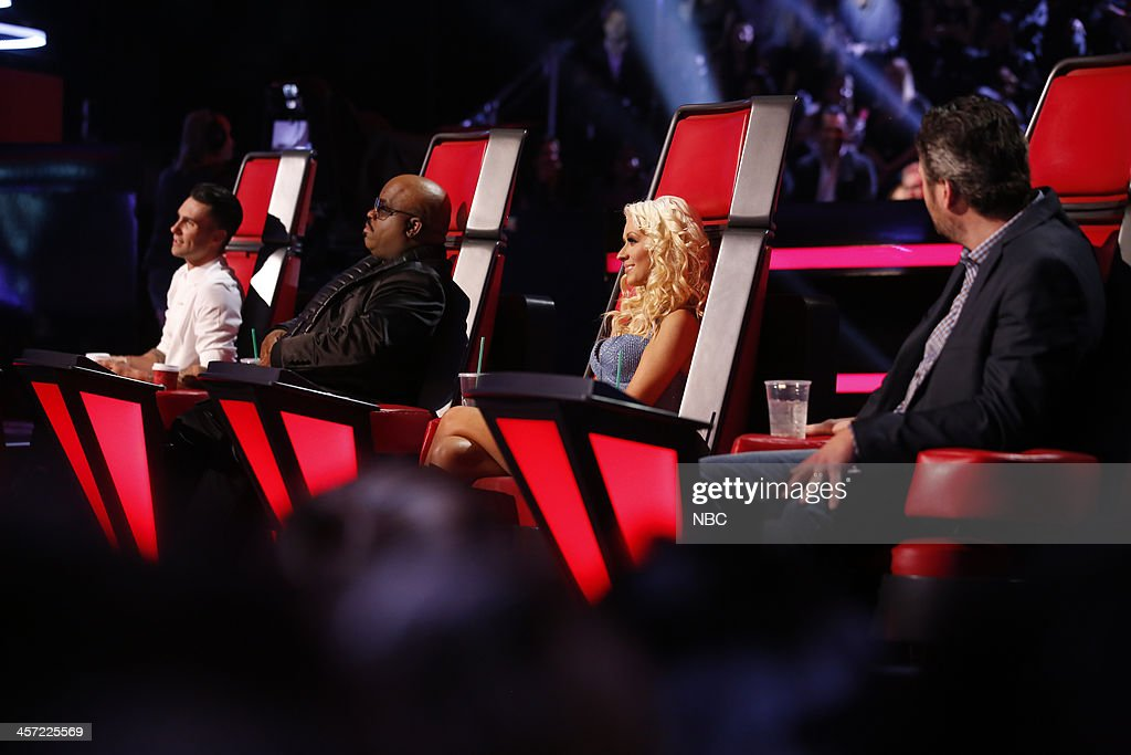 THE VOICE -- 'Live Show' Episode 519A -- Pictured: (l-r) Adam Levine, CeeLo Green, <a gi-track='captionPersonalityLinkClicked' href=/galleries/search?phrase=Christina+Aguilera&family=editorial&specificpeople=171272 ng-click='$event.stopPropagation()'>Christina Aguilera</a>, Blake Shelton --