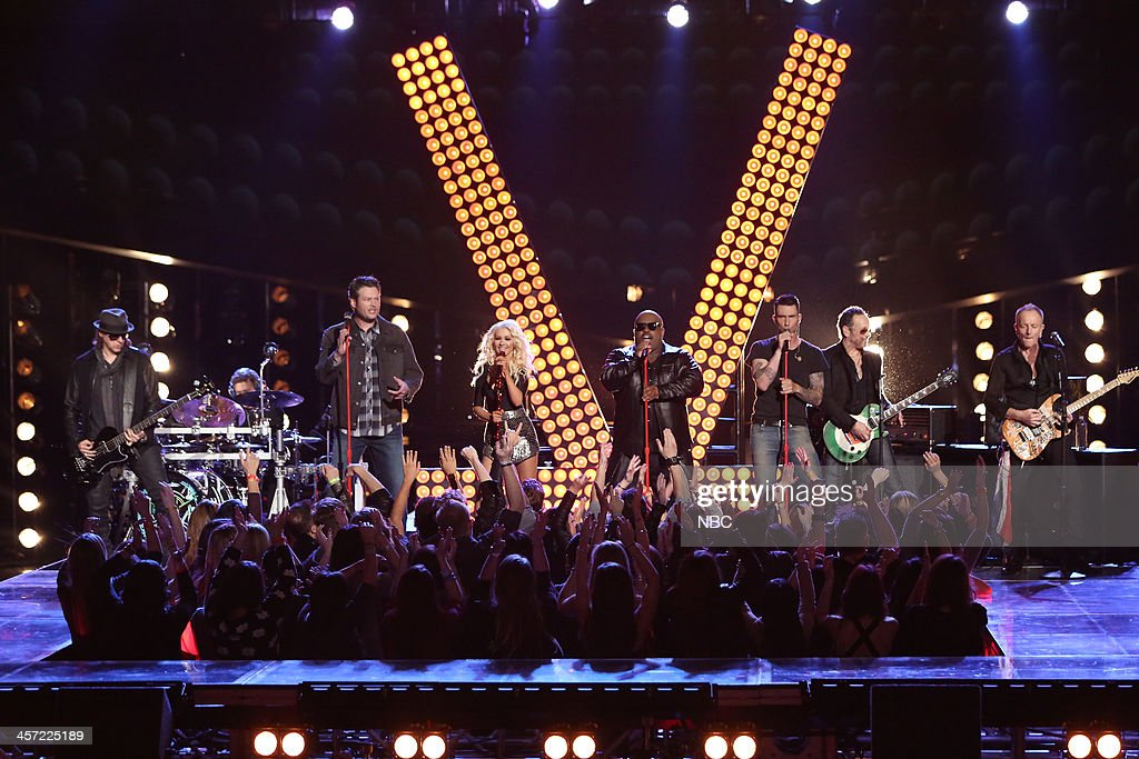 THE VOICE -- 'Live Show' Episode 519A -- Pictured: (l-r) Blake Shelton, Christina Aguilera, CeeLo Green, Adam Levine, Def Leppard --