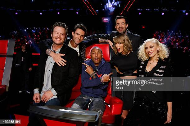THE VOICE 'Live Show' Episode 715B Pictured Blake Shelton Adam Levine Pharrell Williams Carson Daly Taylor Swift Gwen Stefani