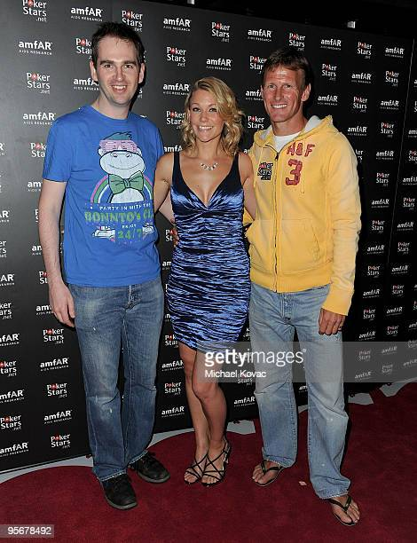 EPT Live Show Host James Hartigan Michelle Orpe and retired English footballer Teddy Sheringham attend the amfAR Cocktail Party PokerStars Red Carpet...