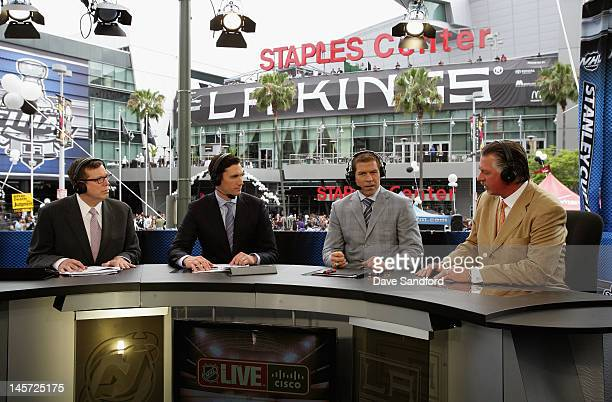 NHL Live talent EJ Hradek Mike Johnson Doug Weight and Barry Melrose discuss Game Three of the 2012 Stanley Cup Final at the Staples Center on June 4...