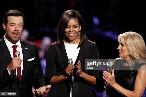 THE VOICE 'Live Top 10' Episode 1015A Pictured Carson Daly Michelle Obama Dr Jill Biden