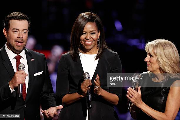 THE VOICE 'Live Top 10' Episode 1015A Pictured Carson Daly Michelle Obama Dr Jill Biden