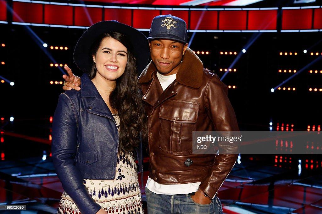 THE VOICE -- 'Live Top 10' Episode 916B -- Pictured: (l-r) Madi Davis, Pharrell Williams --