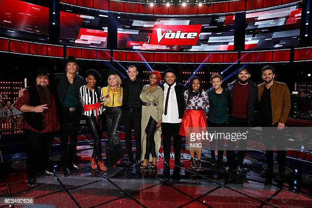 THE VOICE 'Live Top 12' Episode 1114B Pictured Sundance Head Austin Allsup Courtney Harrell Darby Walker Aaron Gibson Ali Caldwell Christian CuevasWe...
