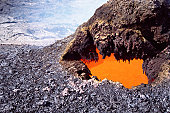 Live volcanic crater