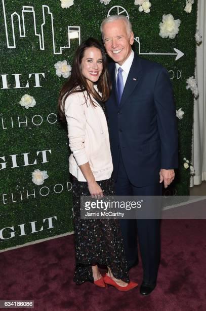 Livelihood founder Ashley Biden and Vice President Joe Biden attend the GILT and Ashley Biden celebration of the launch of exclusive Livelihood...