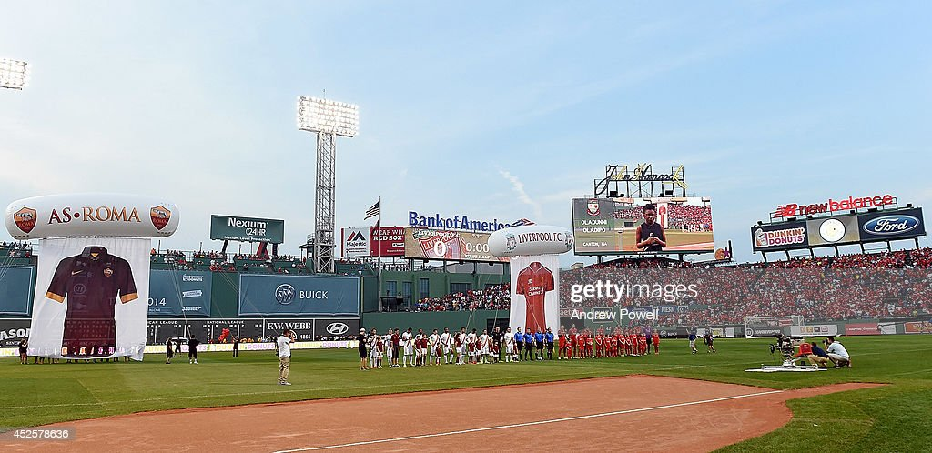 Liverpool and AS Roma line up before the pre season friendly match between Liverpool FC and AS Roma at Fenway Park on July 23, 2014 in Boston, Massachusetts.
