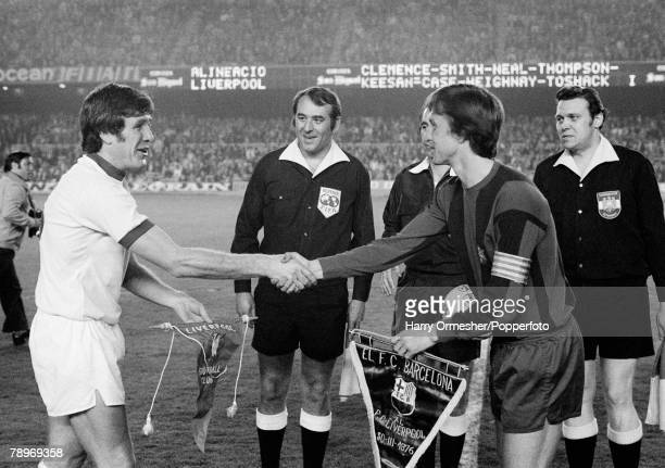 Football 30th March 1976 Nou Camp Barcelona Spain UEFA Cup SemiFinal First Leg Barcelona 0 v Liverpool 1 Liverpool's captain Emlyn Hughes exchanges...