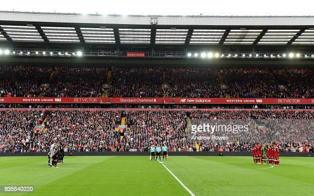 Liverpool and Crystal Palace show their respect with a minute's silence for the terrorist attack that took place in Barcelona during the Premier...