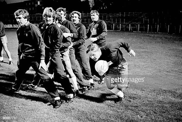 Liverpool and England midfielder Sammy Lee in action during a team relay exercise watched by Graham Roberts Russell Osman Kenny Sansom Peter Withe...