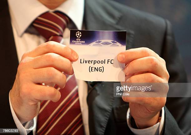 Liverpool are drawn during the UEFA Champions League Knock out Round draw at the UEFA headquarters on December 21 2007 in Nyon Switzerland