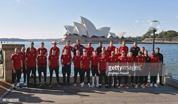 Liverpool arrive at Sydney and pose for a team photograph on May 24 2017 in Sydney Australia