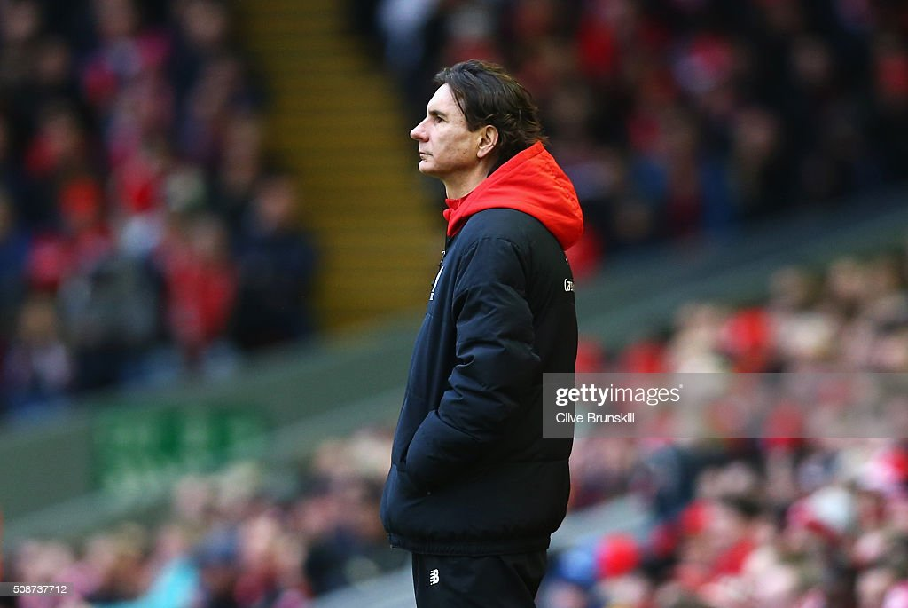 Liverpool assistant coach Zeljko Buvac looks on during the Barclays Premier League match between Liverpool and Sunderland at Anfield on February 6, 2016 in Liverpool, England.