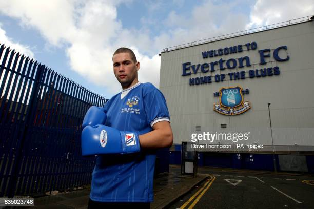 Liverpool boxer and Everton FC fan Tony Bellew poses outside Goodison Park Liverpool