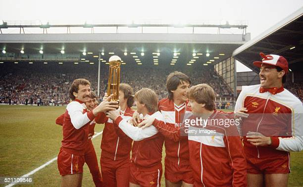 Liverpool captain Graeme Souness celebrates with team mates from left to right Michael RobinsonJohn Wark Kenny Dalglish Alan Hansen Steve Nicol and...