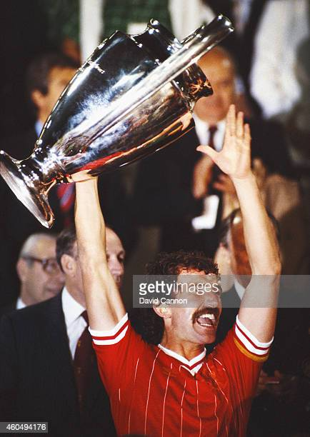 Liverpool captain Graeme Souness lifts the trophy after Liverpool had beaten AS Roma to win the 1984 European Cup Final on penalties at the Olympic...