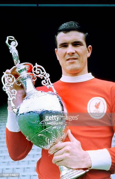 Liverpool captain Ron Yeats holds the league trophy after the club are crowned the League Division One Champions during a photoshoot held on May 30...