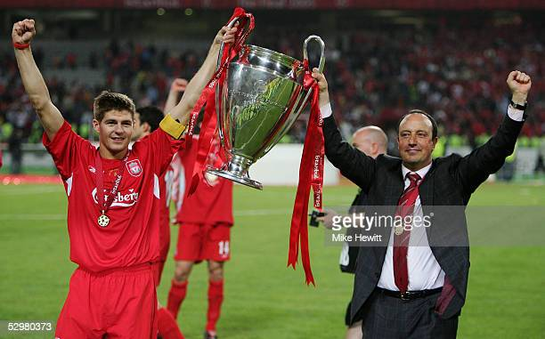 Liverpool captain Steven Gerrard and Liverpool manager Rafael Benitez of Spain lift the European Cup after Liverpool won the European Champions...