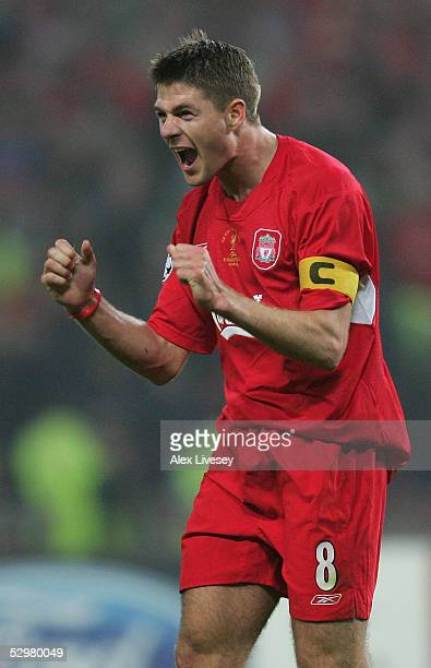 Liverpool captain Steven Gerrard celebrates after a goal during the European Champions League final between Liverpool and AC Milan on May 25 2005 at...