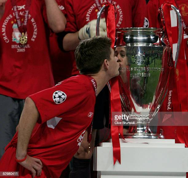 Liverpool captain Steven Gerrard kisses the European Cup after Liverpool won the European Champions League against AC Milan on May 25 2005 at the...