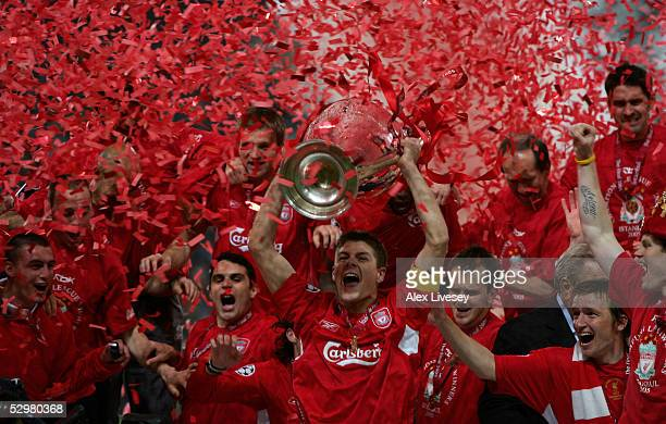 Liverpool captain Steven Gerrard lifts the European Cup after Liverpool won the European Champions League final between Liverpool and AC Milan on May...