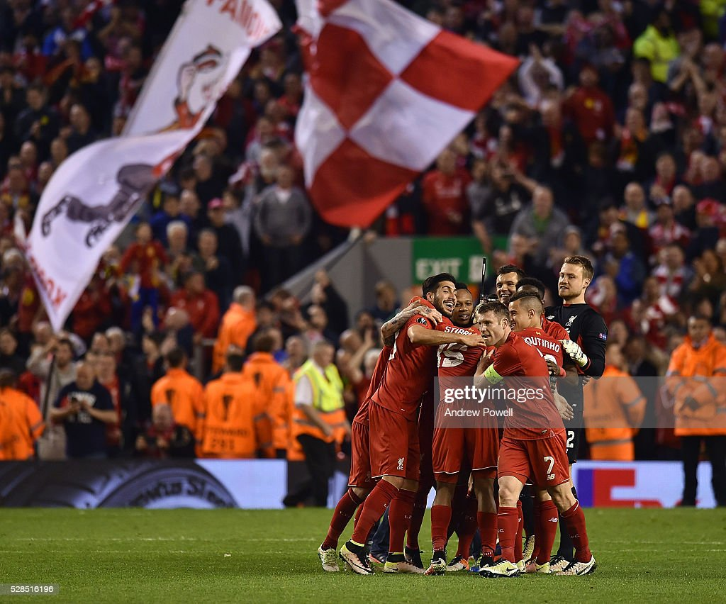 Liverpool celebrate at the end of the UEFA Europa League Semi Final: Second Leg match between Liverpool and Villarreal CF at Anfield on May 05, 2016 in Liverpool, England.
