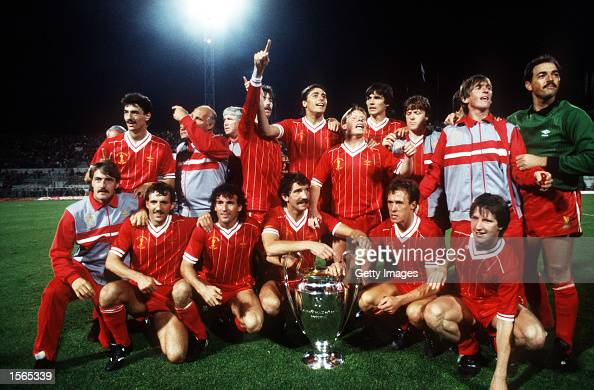 Liverpool celebrate during the 1984 European Cup Final between Roma v Liverpool played in Rome Italy Liverpool won 53 on penalties Mandatory Credit...