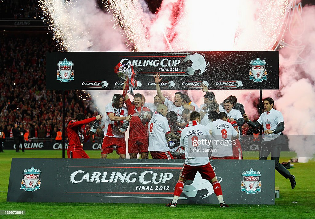 Liverpool celebrate victory after the Carling Cup Final match between Liverpool and Cardiff City at Wembley Stadium on February 26, 2012 in London, England. Liverpool won 3-2 on penalties.