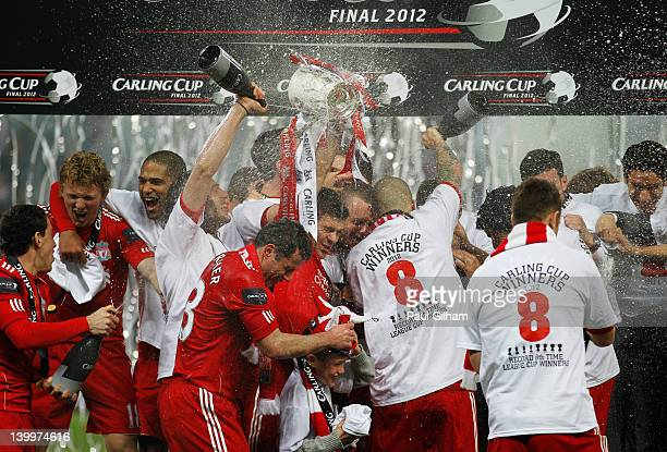 Liverpool celebrate victory after the Carling Cup Final match between Liverpool and Cardiff City at Wembley Stadium on February 26 2012 in London...
