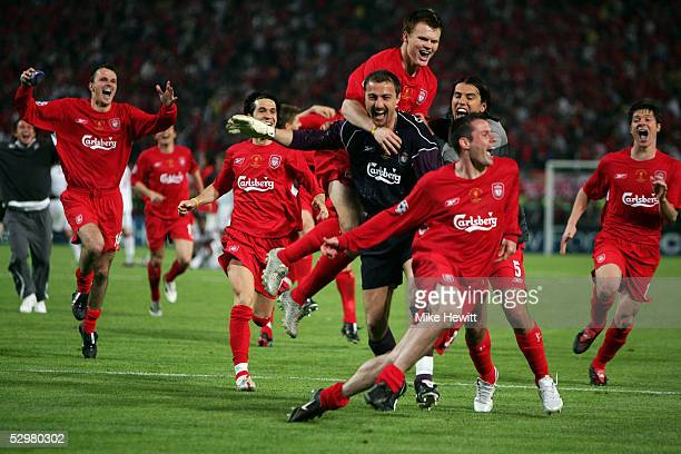 Liverpool celebrate winning the European Champions League on penalties on May 25 2005 at the Ataturk Olympic Stadium in Istanbul Turkey