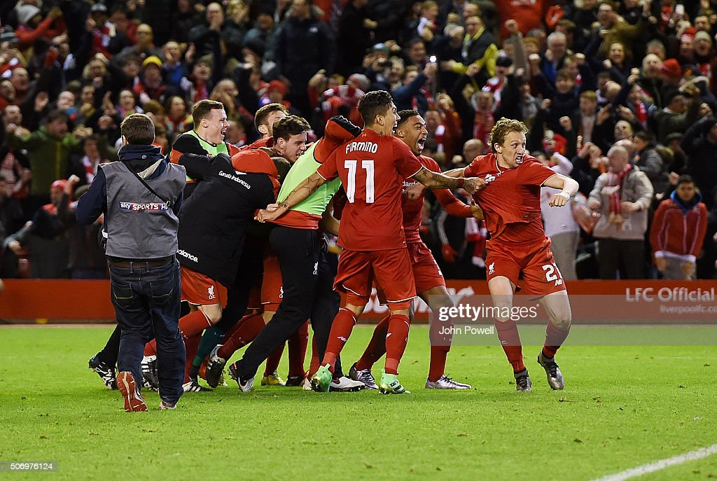 Liverpool celebrates at the end of the the Capital One Cup Semi Final: Second Leg between Liverpool and Stoke City at Anfield on January 26, 2016 in Liverpool, England.