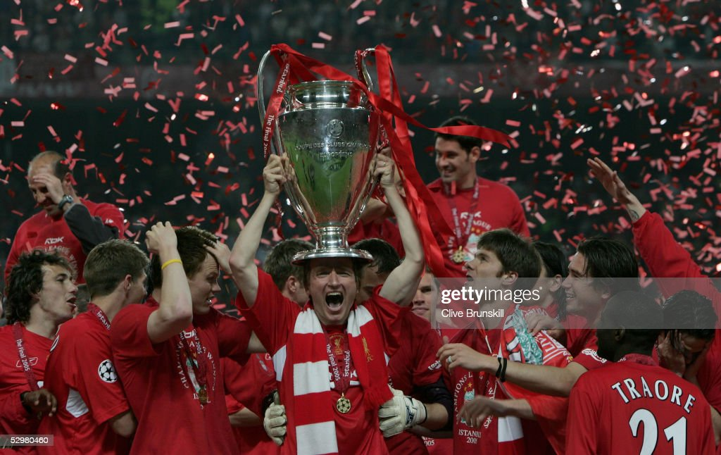 Liverpool defender John Arne Riise of Norway lifts the European Cup after Liverpool won the European Champions League against AC Milan on May 25 2005...