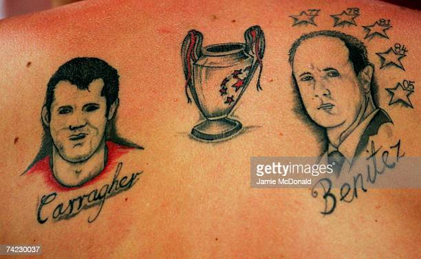 Liverpool fan proudly displays his tatoos prior to kickoff during the UEFA Champions League Final match between Liverpool and AC Milan at the Olympic...