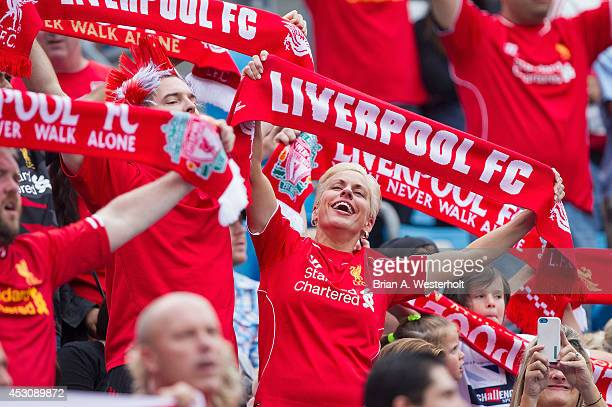Liverpool fan sings along to 'You'll Never Walk Alone' prior to the Guinness International Champions Cup match against AC Milan at Bank of America...