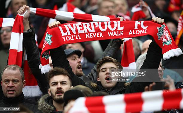 Liverpool fans are seen outside the stadium prior to the Premier League match between Liverpool and Swansea City at Anfield on January 21 2017 in...