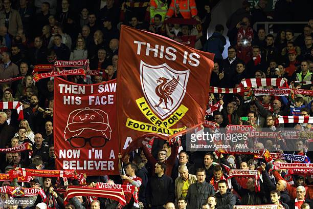 Liverpool fans celebrate Jurgen Klopp by holding up a banner prior to the UEFA Europa League match between Liverpool and Rubin Kazan at Anfield on...