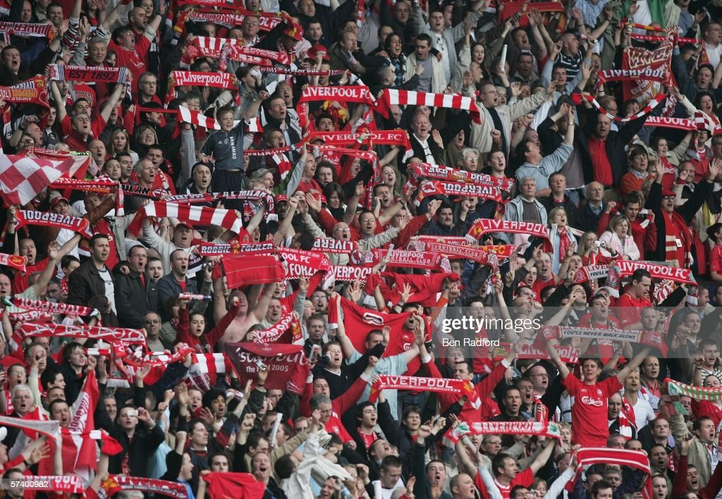Liverpool fans celebrate victory following the FA Cup SemiFinal match between Chelsea and Liverpool at Old Trafford on April 22 2006 in Manchester...