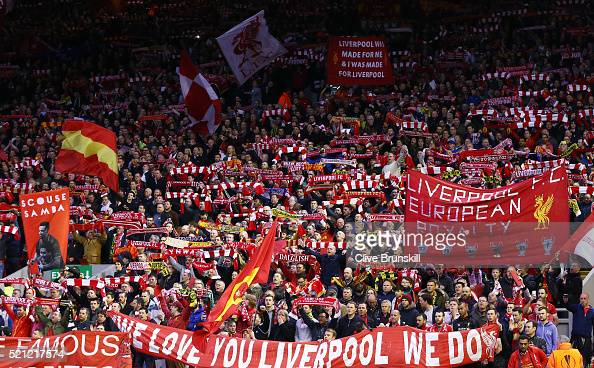 Liverpool fans cheer on their team during the UEFA Europa League quarter final second leg match between Liverpool and Borussia Dortmund at Anfield on...