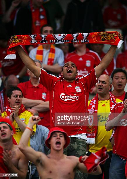 Liverpool fans cheer on their team prior to kickoff during the UEFA Champions League Final match between Liverpool and AC Milan at the Olympic...