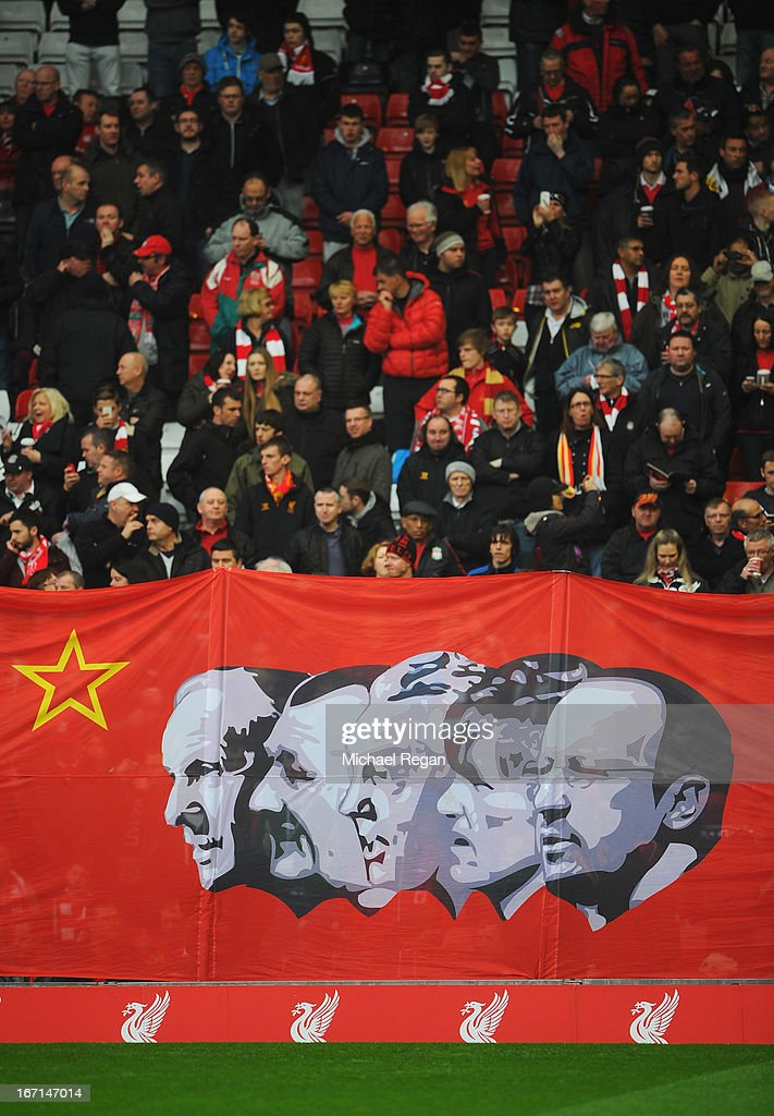 Liverpool fans display a banner showing Rafael Benitez together with other Liverpool managers from the past prior to the Barclays Premier League match between Liverpool and Chelsea at Anfield on April 21, 2013 in Liverpool, England.
