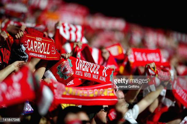 Liverpool Fans during the Barclays Premier League match between Liverpool and Wigan Athletic at Anfield on March 24 2012 in Liverpool England