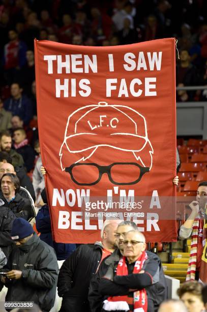 Liverpool fans hail new manager Jurgen Klopp with banners in the stands before the game