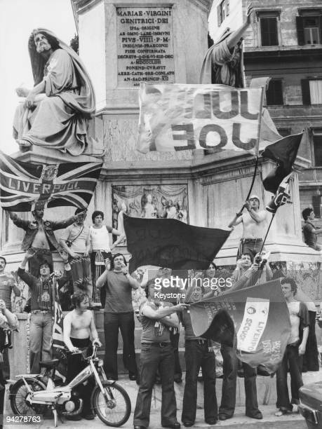 Liverpool fans in Rome to watch their team play Borussia Monchengladbach in the European Cup final 25th May 1977 Liverpool later won the match 31